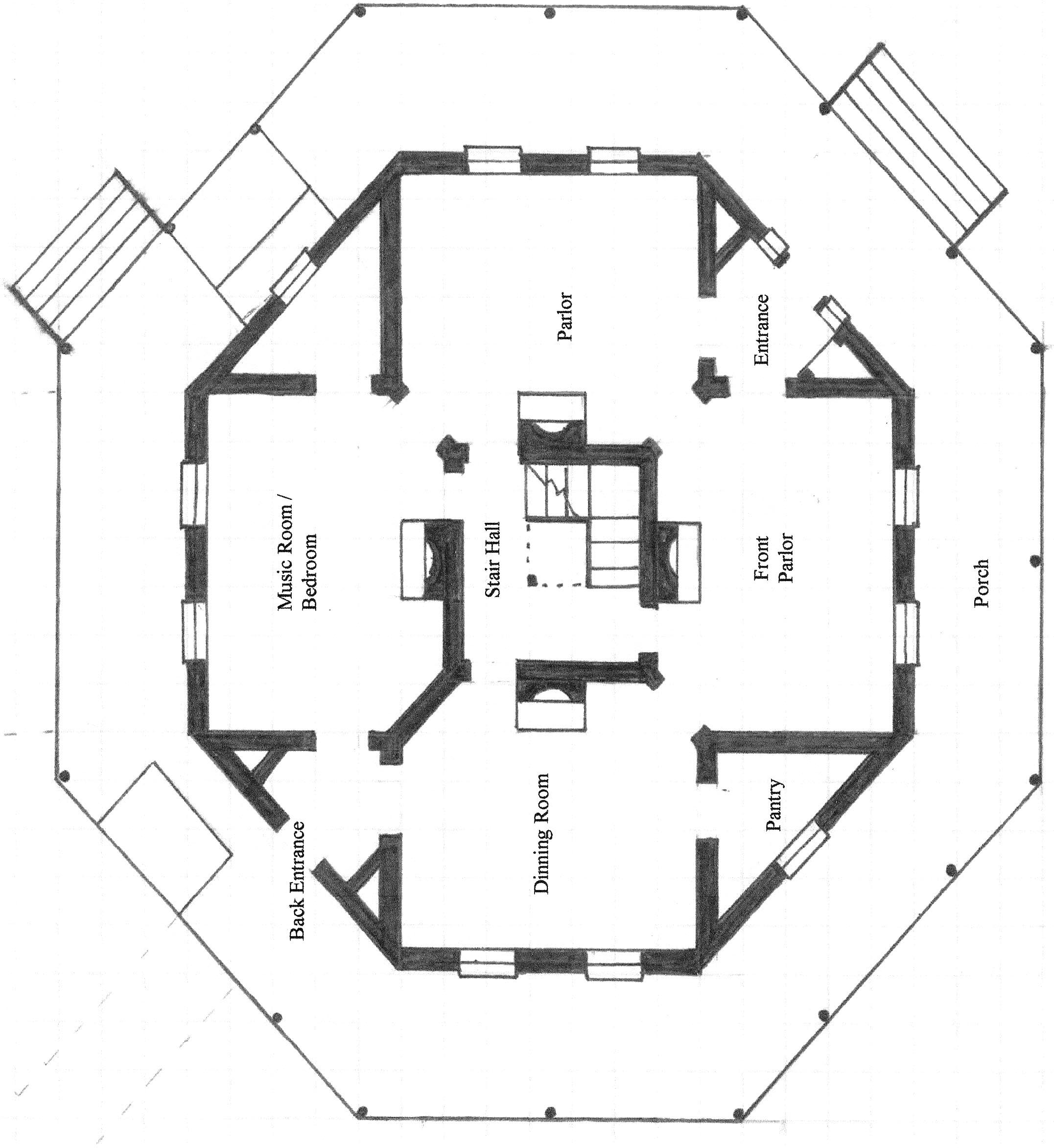 Octagon house encyclopedia of alabama for Octagon house floor plans