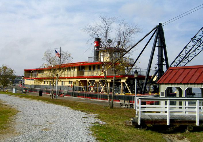 The U.S. Snagboat Montgomery lies moored on the Tombigbee River near the Tom Bevill Visitors Center and Museum in Pickens County.