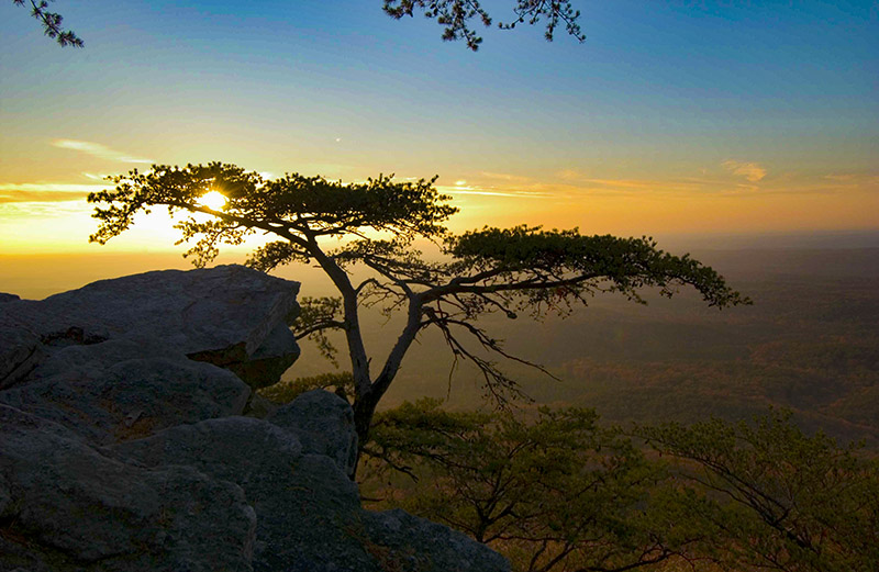 The end of Bald Rock Trail atop Cheaha Mountain in Cheaha State Park takes visitors to Alabama's highest point, at 2,407 feet.