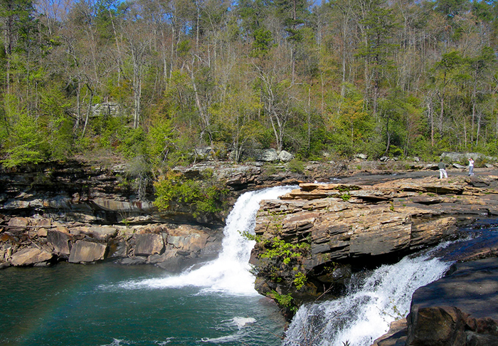 Little River Falls on the Little River is located on the border between Cherokee and DeKalb Counties.