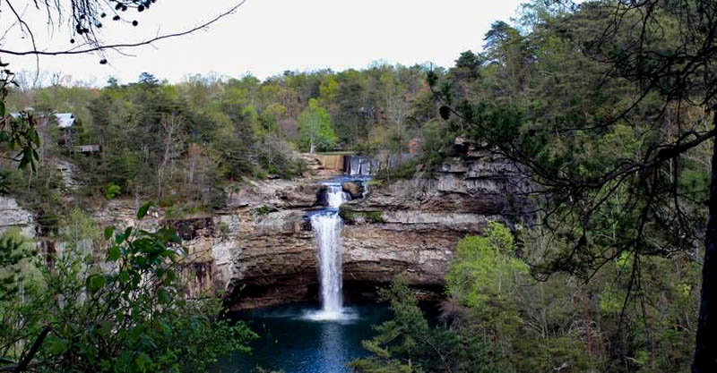 DeSoto Falls is located in DeSoto State Park, near the eastern border of DeKalb County.