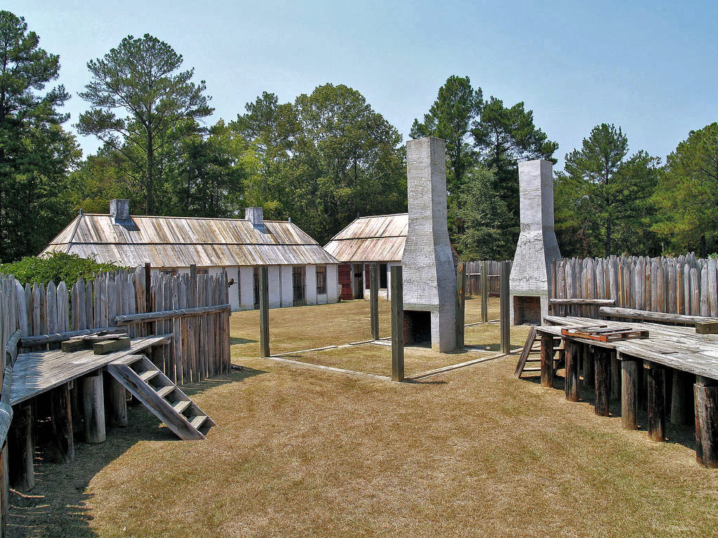This reconstructed French fort is part of the Fort Toulouse-Fort Jackson National Historic Park on the Coosa River.