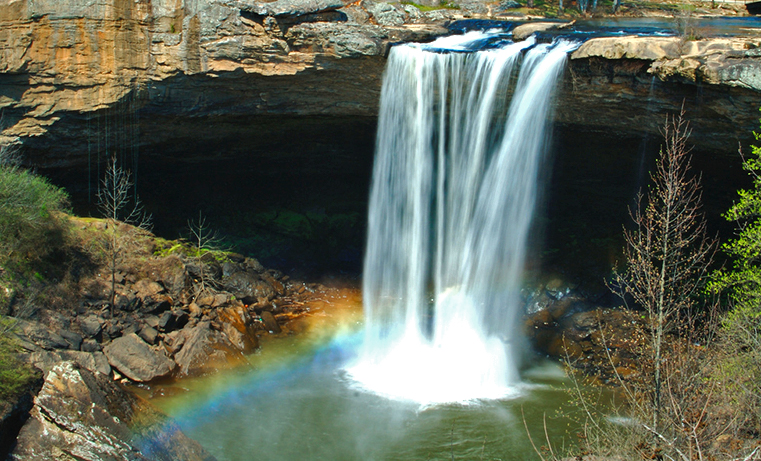 Noccalula Falls in Gadsden is a 100-foot waterfall located in a city park.