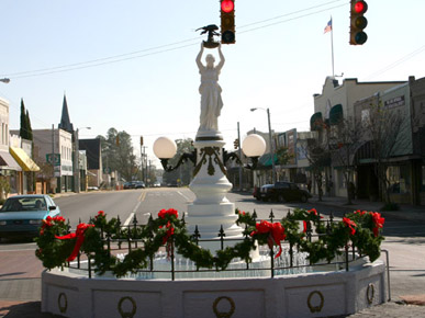 The Boll Weevil Monument is located in the middle of the intersection of Main Street and College Street in downtown Enterprise, Coffee County.