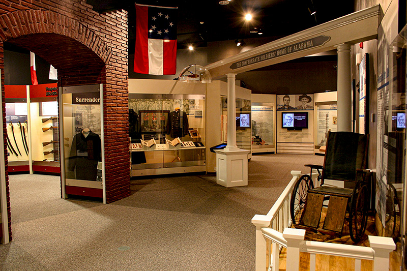 The museum at Confederate Memorial Park in Chilton County contains exhibits on Alabama's role during the Civil War and on the site's history as the only state-run home for Confederate veterans following the war.