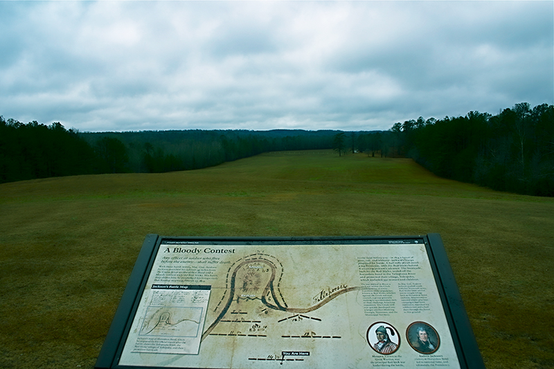 An interpretive sign educates visitors to Horseshoe Bend in Tallapoosa County on the site of the final battle of the Creek War of 1813-14, where Gen. Andrew Jackson defeated the Red Stick Creeks in March 1814.