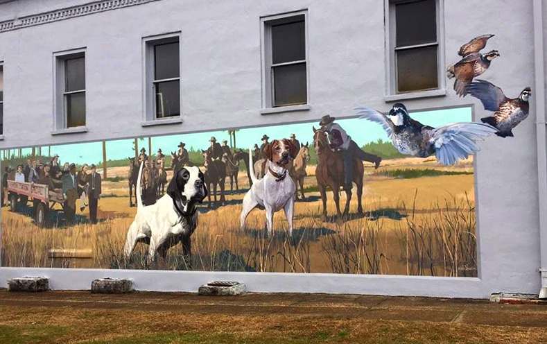This mural of a hunting party and their bird dogs adorns the wall of a pediatric clinic in downtown Union Springs, Bullock County.