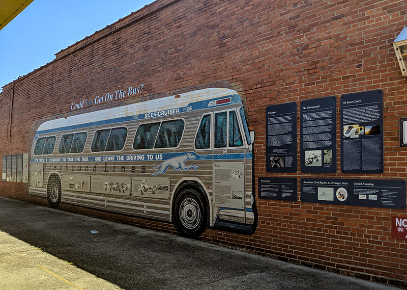 The Freedom Rider Murals in Anniston, Calhoun County, commemorate the attacks on civil rights volunteers at the city's Greyhound bus station in May 1961.
