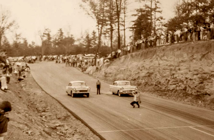 Cars await the start of a race at the Lassiter Mountain Dragway outside Fultondale, Jefferson County in this ca. 1960 photo. The racetrack is an 1/8-mile ...