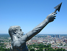 The statue of Vulcan stands on Red Mountain overlooking the city of Birmingham.
